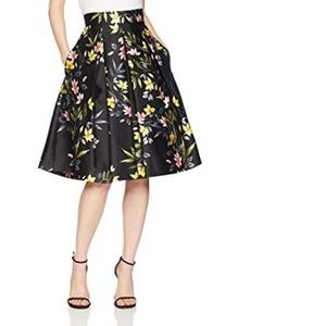 Eliza J Floral Print A-line Pleated Skirt